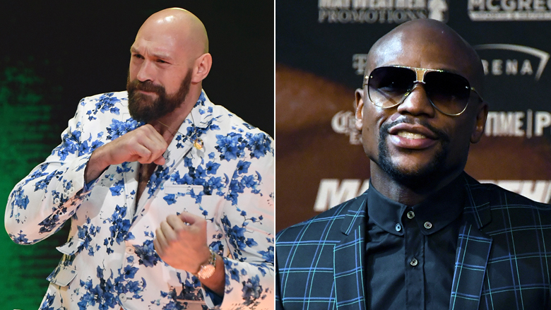 Boxing Champs Tyson Fury on left, Floyd Mayweather on right