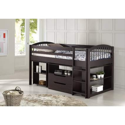 Alaterre Dylan Espresso Loft Storage Bed