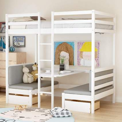 Bellemave Loft Bed with Booth and Table