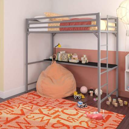DHP Miles Silver Metal Loft Bed with Desk