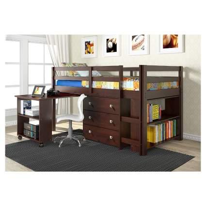 Donco Kids Low Study Loft Bed - Dark Cappuccino