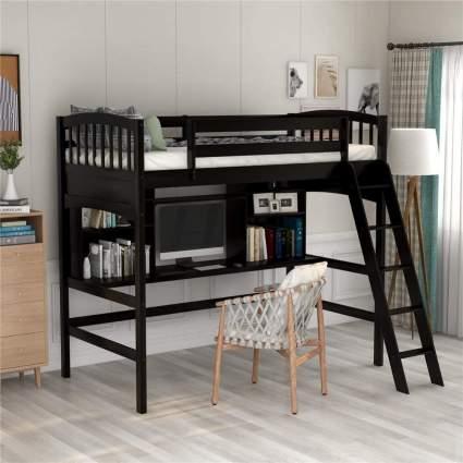 Espresso Wood Loft Bed for Kids