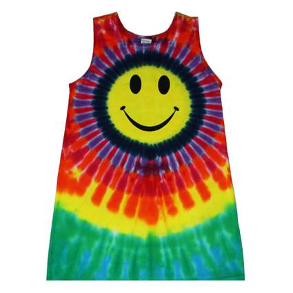 girls smiley face tie dye tank dress