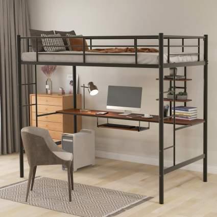 Harper & Bright Metal Loft Twin Bed with Desk