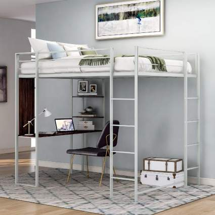 Merax Space-Saving Twin Size Metal Loft Bed with Desk