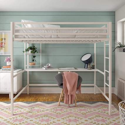 Novogratz Maxwell White Metal Full Bunk Bed and Desk