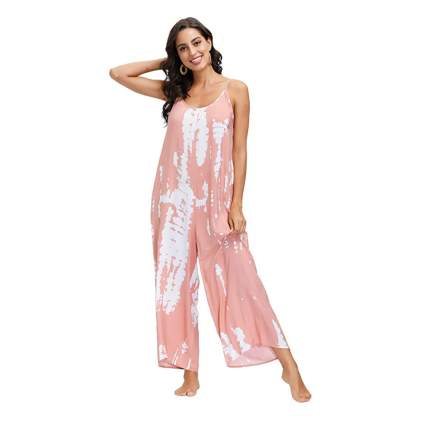pink tie-dye jumpsuit