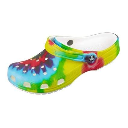 tie dye print crocs clogs