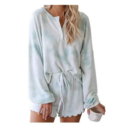 tie dye ruffle leg short pajamas
