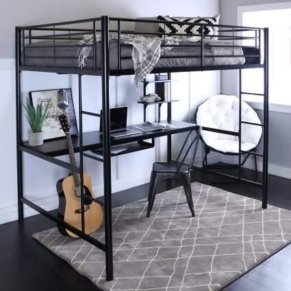 Walker Edison Furniture Modern Loft Bed & Workstation