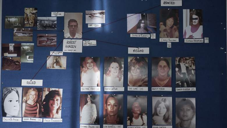 The murder and missing board, showing photos of Hansen's victims and crime scene photos