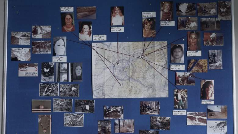 The murder map, with photos of a selection of Hansen's victims with string pointing to where they were found, and crime scene photos