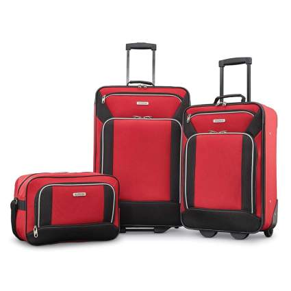 red soft side luggage set