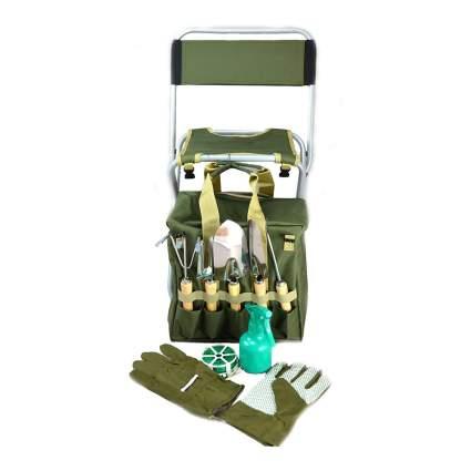 Green garden tool set with stool