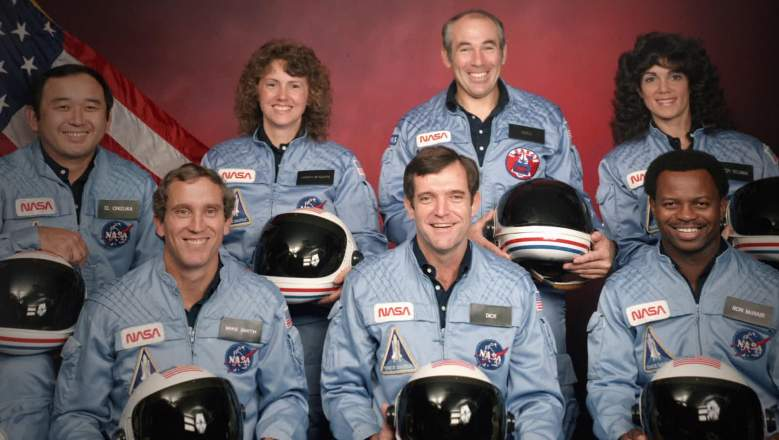 CHALLENGER - THE FINAL FLIGHT (L to R) The Challenger 7 flight crew: Ellison S. Onizuka; Mike Smith; Christa McAuliffe; Dick Scobee; Gregory Jarvis; Judith Resnik; and Ronald McNair.