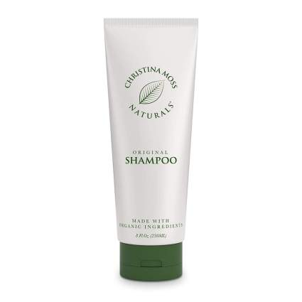 What and green tube of natural shampoo