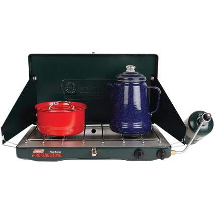 Coleman campstove with kettle