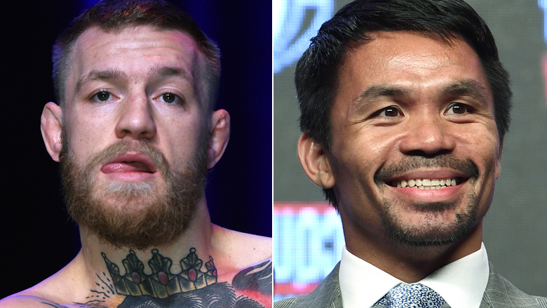 UFC Star Conor McGregor left, Boxing Star Manny Pacquiao right