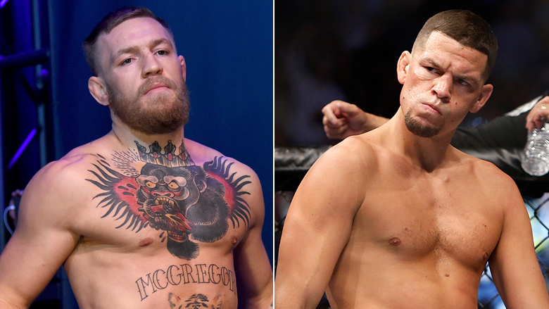 UFC Stars Conor McGregor left, Nate Diaz right