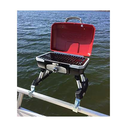 Cuisinart Grill Modified for Pontoon Boat with Arnall's Stainless Grill Bracket