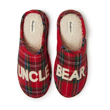"Plaid ""uncle bear"" slippers"