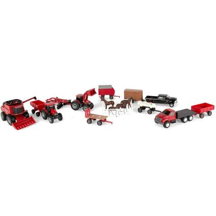 Small die-cast farm equipment toy set