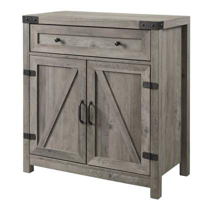 grey wood farmhouse accent cabinet