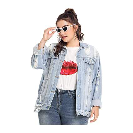 Floerns Plus Size Denim Jacket