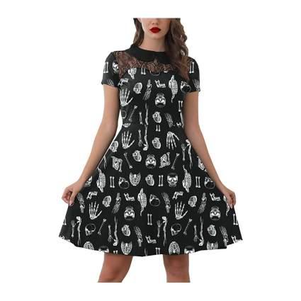 Black dress with white bones