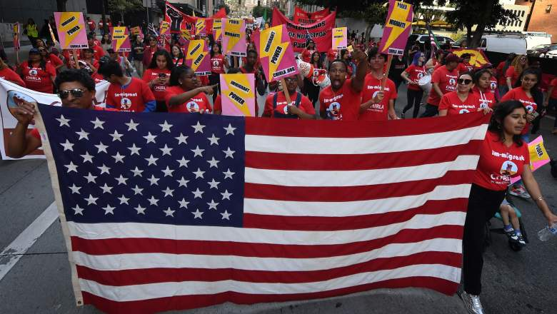 Union members, activists and their supporters march through the city during their annual May Day procession in support of workers' rights and immigrant freedom in Los Angeles on May 1, 2019. - May Day has been an international workers' celebration for more than 130 years.