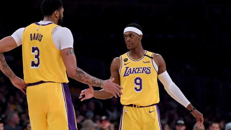 Rajon Rondo, at right, Lakers.
