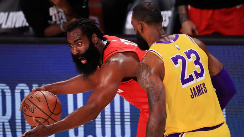 The Rockets' James Harden (left) has reason to be upset by the defense played LeBron James (right) and the Lakers.