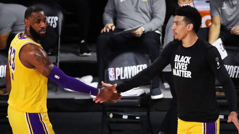 LeBron James, left, and Danny Green of the Lakers
