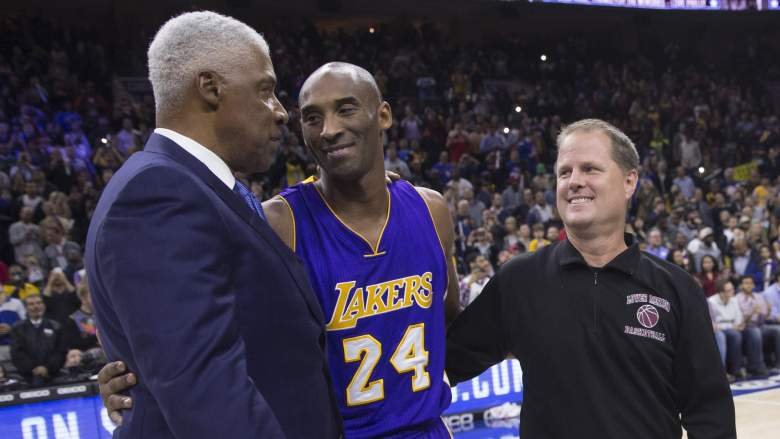 Lakers legend Kobe Bryant, middle, with NBA star Julius Erving and Lower Merion High School coach Gregg Downer in Philadelphia in 2015.