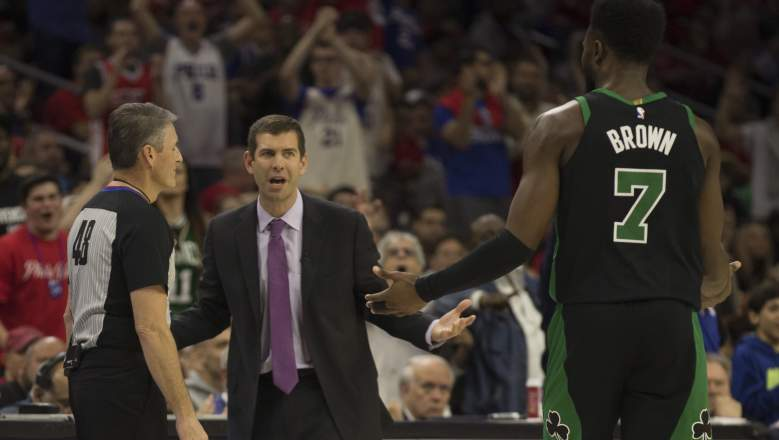 Referee Scott Foster (left) gets an earful from Celtics coach Brad Stevens and forward Jaylen Brown in the 2018 playoffs.