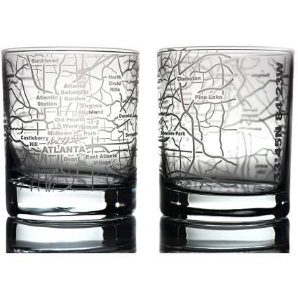 Whiskey glasses with city road map