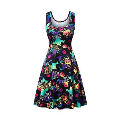 Colorful Halloween themed midi dress
