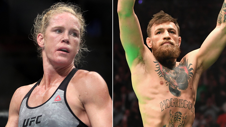 UFC Stars Holly Holm left, Conor McGregor right