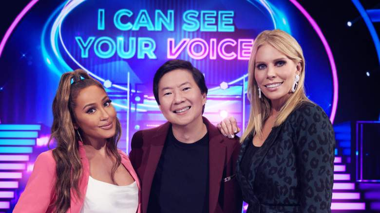 L-R: Panelist Adrienne Bailon, host Ken Jeong and panelist Cheryl Hines in the series premiere episode of I CAN SEE YOUR VOICE premiering Wednesday, Sept 23 (9:00-10:00 PM ET/PT) on FOX.