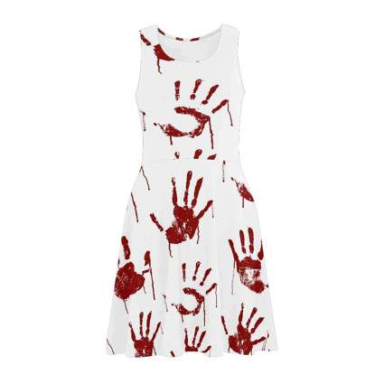 White dress covered in bloody handprints