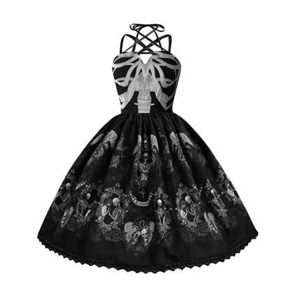 Hepburn dress with skeletons