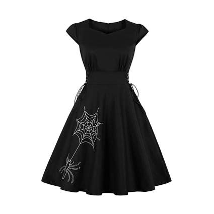VIntage cut dress with embroidered spider