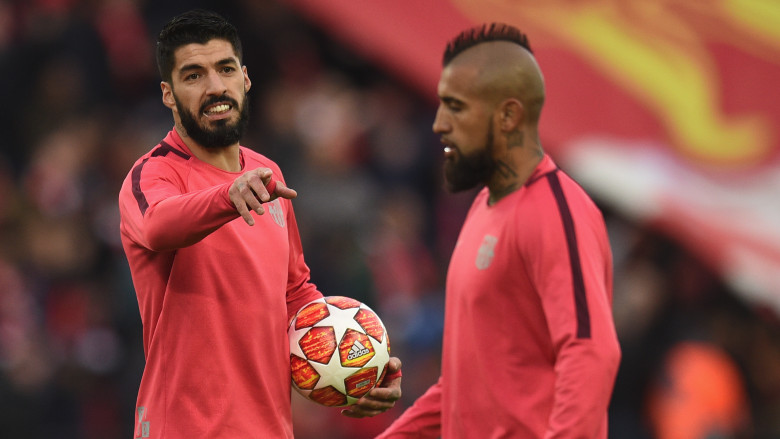 Luis Suarez and Arturo Vidal