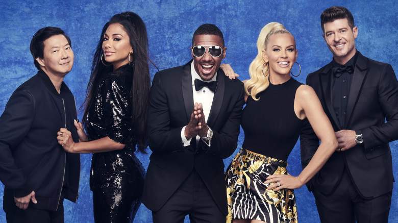 THE MASKED SINGER: L-R: Ken Jeong, Nicole Scherzinger, Nick Cannon, Jenny McCarthy and Robin Thicke. The Season Four premiere of THE MASKED SINGER airs Wednesday, Sept. 23 (9:00-10:00 PM ET/PT), on FOX.