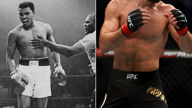 Muhammad Ali left, Khabib Nurmagomedov