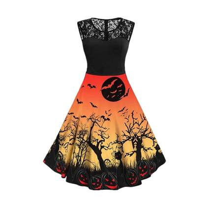 orange and black spooky dress with black lace