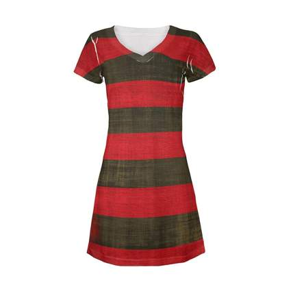 Red and black striped dress