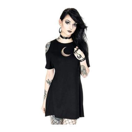 Black goth dress with crescent moon