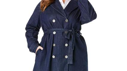 Roaman's Denim Trenchcoat