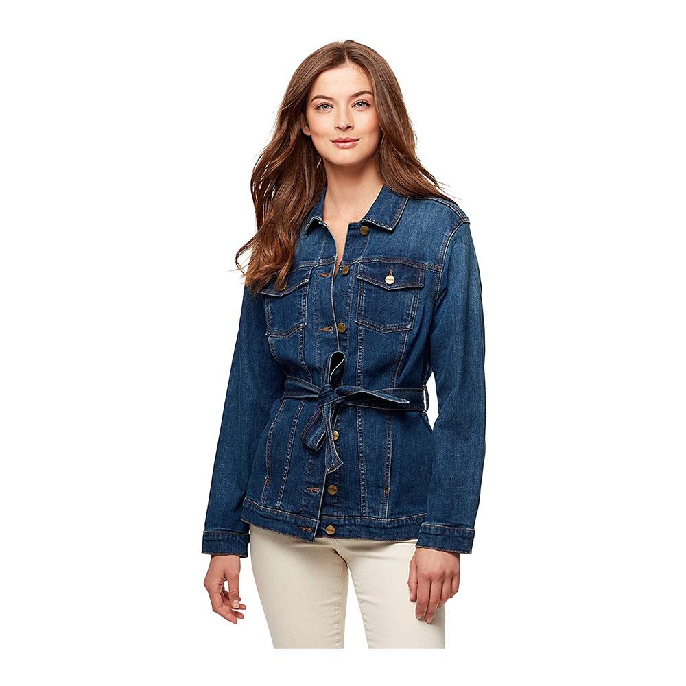 Women/'s Denim Jacket Jeans Stretch Slim Fit Buttons Down Coat Outwear Plus Size
